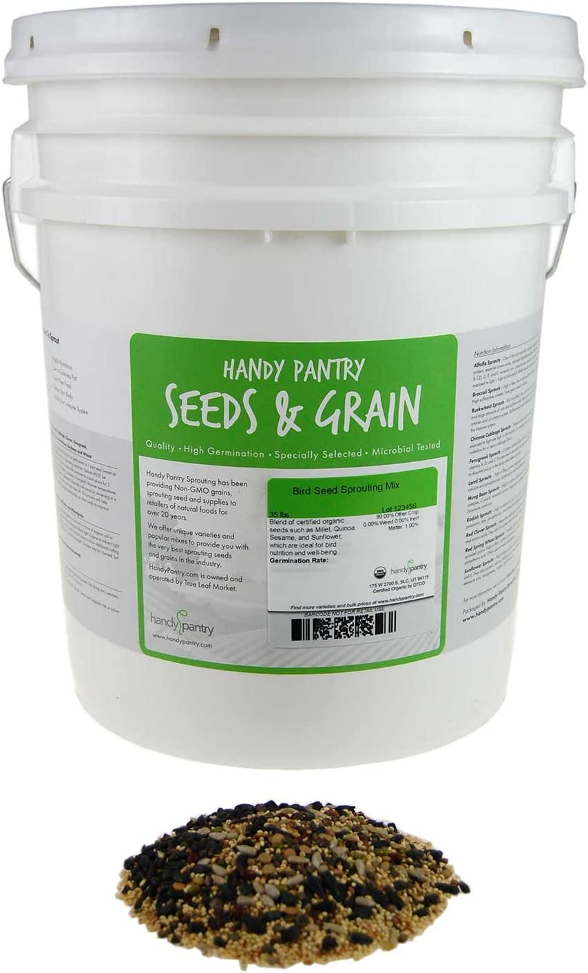 Handy Pantry Organic Birdseed - 35 Lb - Sprouting Bird Seed Mix for Small, Medium & Large Birds- Feed for Songbirds, Parakeets, Parrots, etc