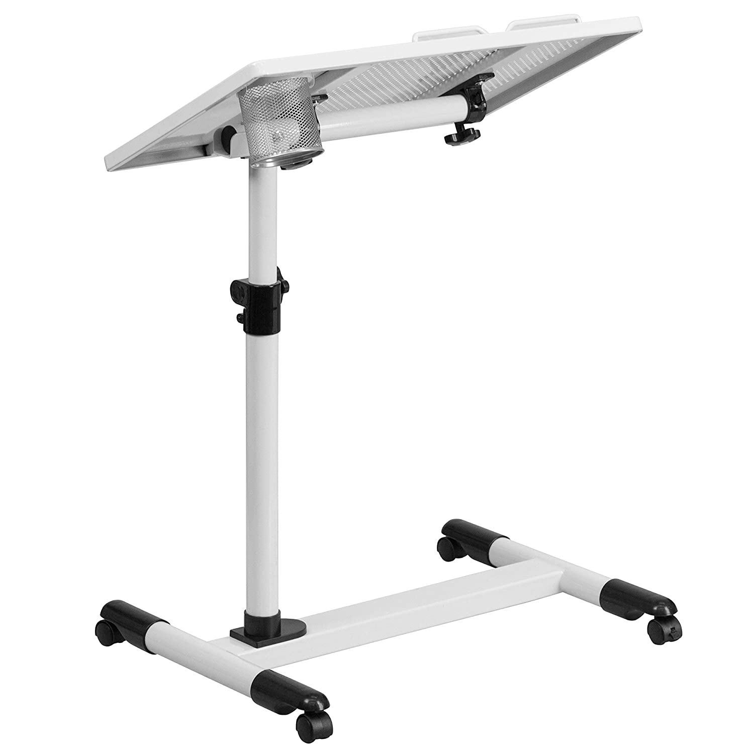 Flash Furniture White Adjustable Height Steel Mobile Computer Desk