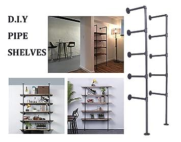 Articial Diy Industrial Pipe Shelf Kit 4 Shelf Pipe Ceiling Shelves Wall Mount Bookshelf Pipe Floating Shelves 5 Tier 2 Black