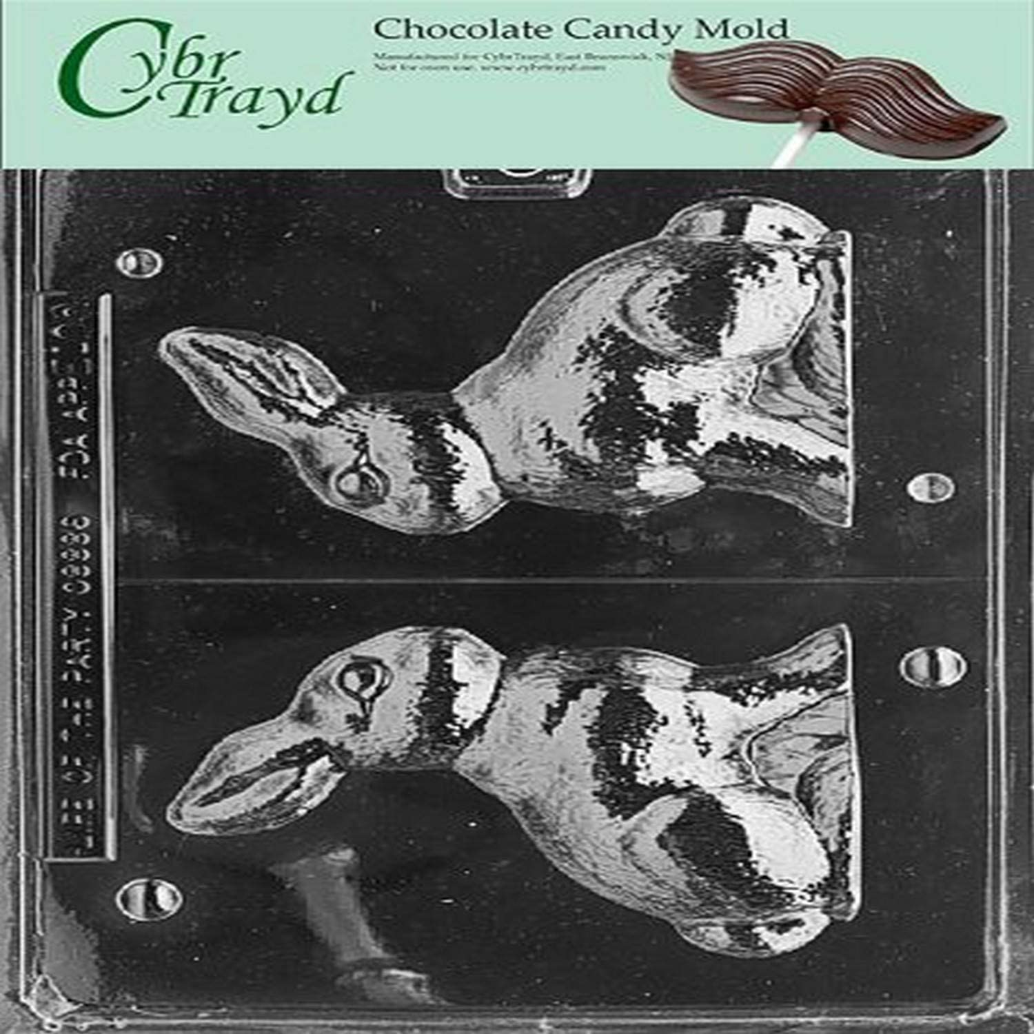 E134 Large Easter Bunny Chocolate Candy Soap Mold with Instructions
