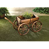 VERDUGO GIFT Old Country Wood Barrel Wagon Planter