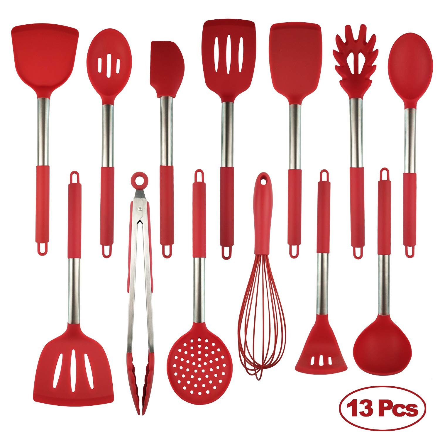 Silicone Cooking Utensils Set, Heat Resistant and Non Stick Kitchen Utensil Set with Stainless Steel Handle (Red-13pcs) by Smart Cutter