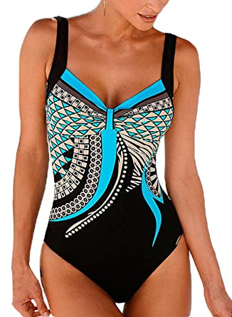 8921c99275 Happy Sailed Womens Backless V-Neckline Beachwear Tribal Print 1 Piece  Swimsuit Size 8 10