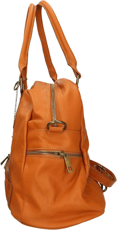 Chicca Borse Bag Borsa a Spalla in Pelle Made in Italy 47x29x21 cm Cuoio