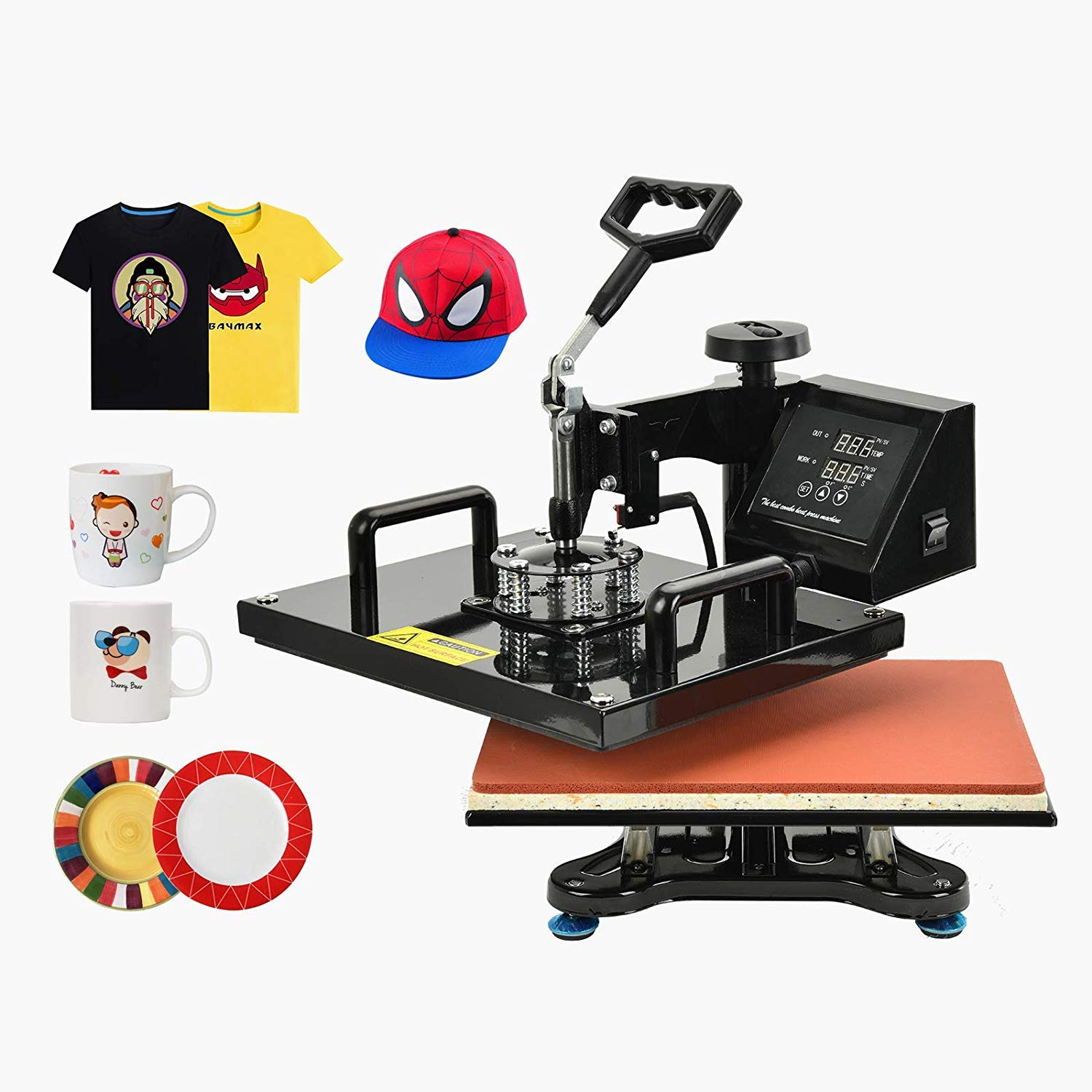 Nurxiovo 8 in 1 Heat Press Machine Swing Away Digital Sublimation Heat Pressing Transfer Machine for T-Shirt//Mug//Hat Plate//Cap 12x15