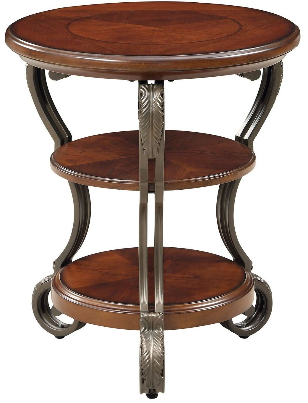 Furniture of America CM4326T May Brown Cherry Side Table End Nesting by Furniture of America