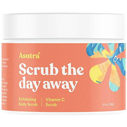 Asutra, Organic Exfoliating Body Scrub, Vitamin C, 100% Himalayan Sea Salt Scrub, Ultra Hydrating and Moisturizing Scrub, Skin Smoothing Jojoba, Sweet Almond, and Argan Oils, 12 oz. Jar best body scrub
