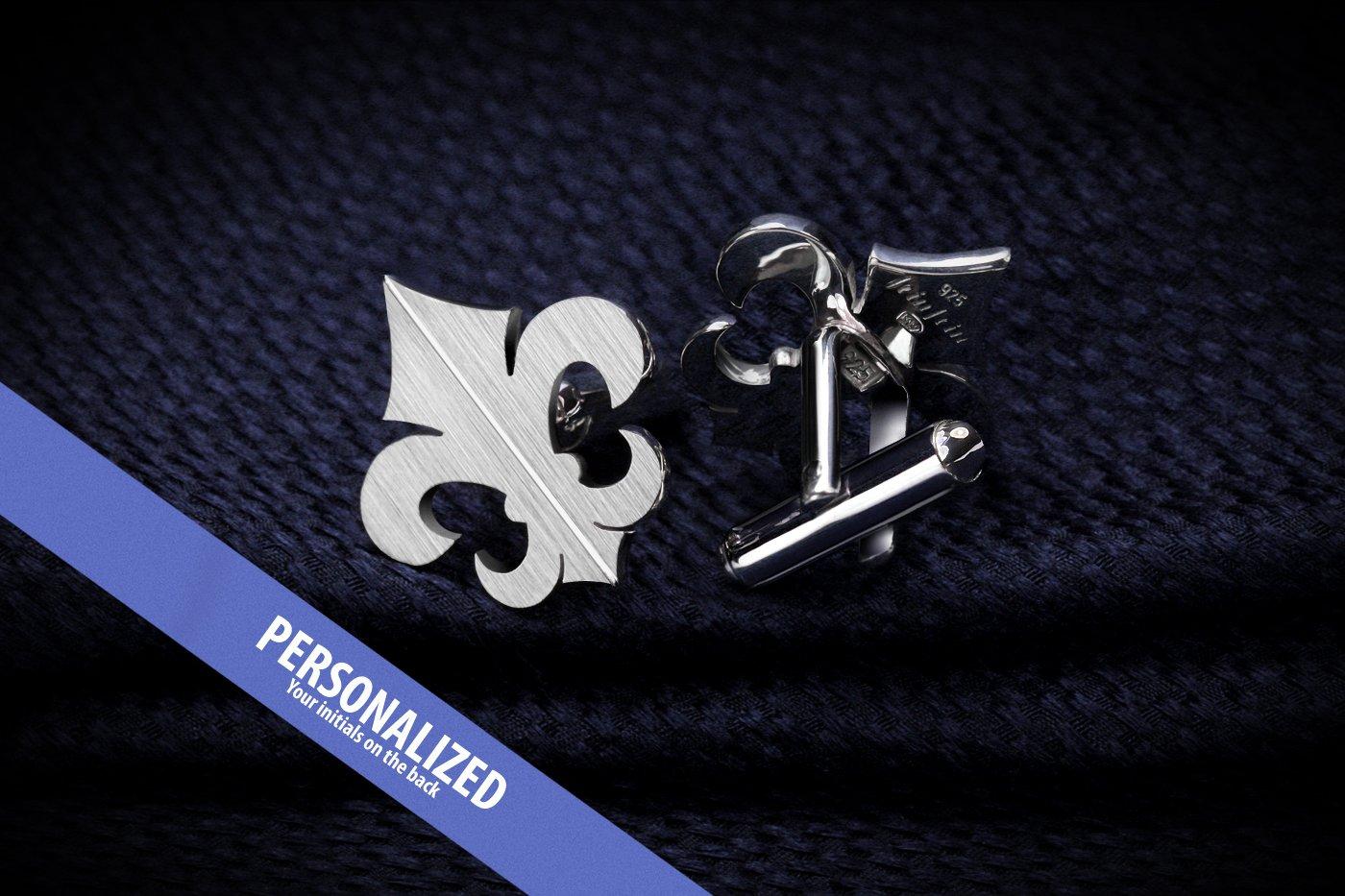 Wedding Cufflinks - Fleur de lis cufflinks Sterling Silver - Mens wedding accessories
