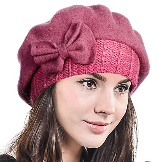 F N STORY Lady French Beret Wool Beret Chic Beanie Winter Hat Jf-br034 (Bow 4b8436e1a12