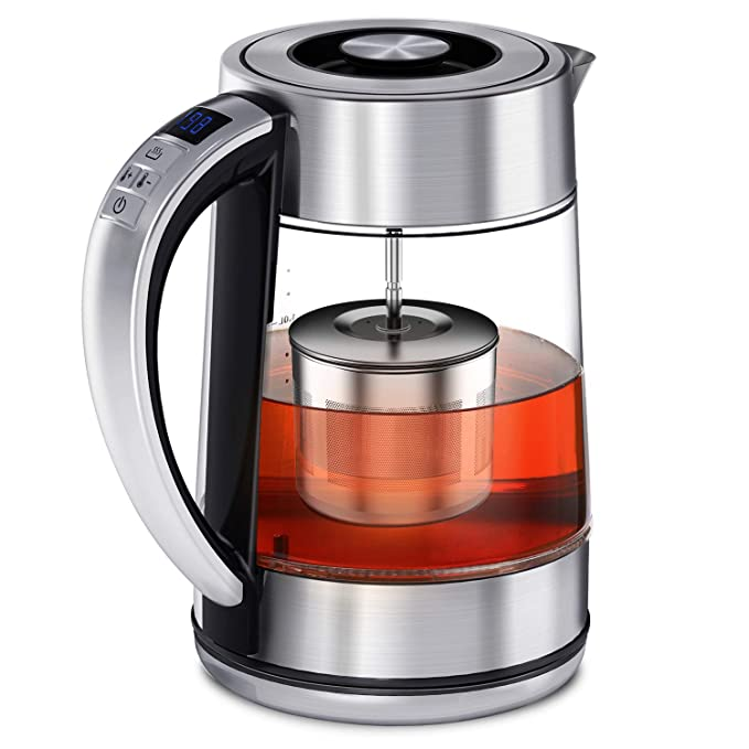 FEBOTE Electric Tea Kettle, 2 in 1 Glass Kettle Teapot With Infuser, Hot Water Heater Variable Temperature Control, Reinforce Stainless Steel Body, Removable Lid For Easy Clean, 1500W-1.7L (BPA-Free) Perfect for Loose Leaf Tea, Blooming Tea best electric tea kettle