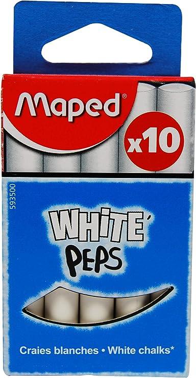 Maped 593500 - Tizas, pack de 10 unidades, color blanco: Amazon.es: Oficina y papelería