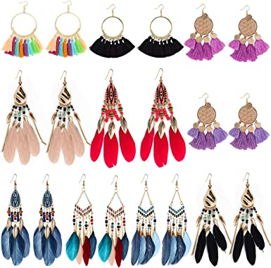 Bohemia Ethnic Tassels Dangle Earrings Triangular Womens Girls Thread Vintage Handmade Drop Purple