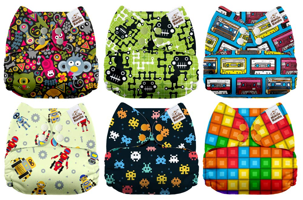 6 Pack with 6 One Size Microfiber Inserts Mama Koala One Size Baby Washable Reusable Pocket Cloth Diapers Party Up