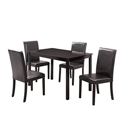 Harper Bright Designs 5 Pieces Dining Table Set For 4 Person Home Kitchen Table And 4 Leather Chairs Black