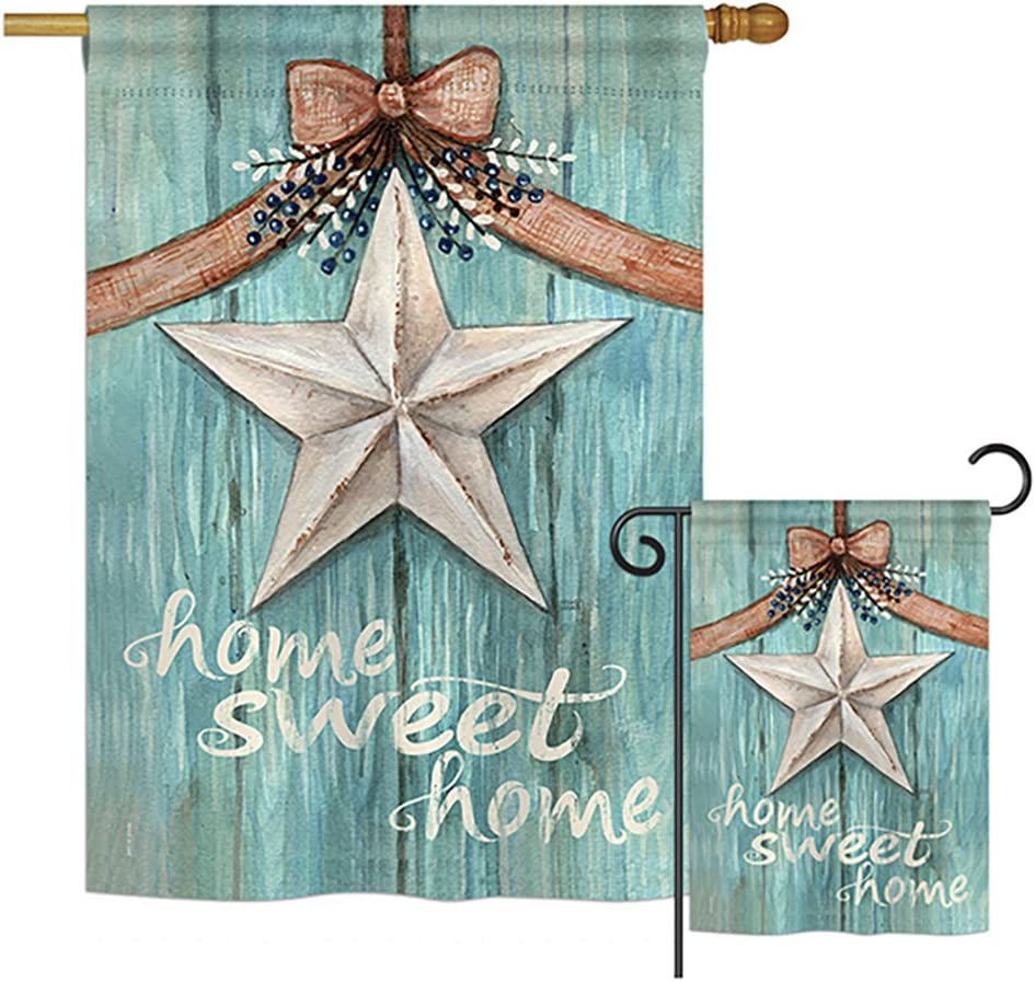 Breeze Decor S100067-BO Welcome White Barn Star Inspirational Sweet Home Decorative Vertical Flags Set, House 28