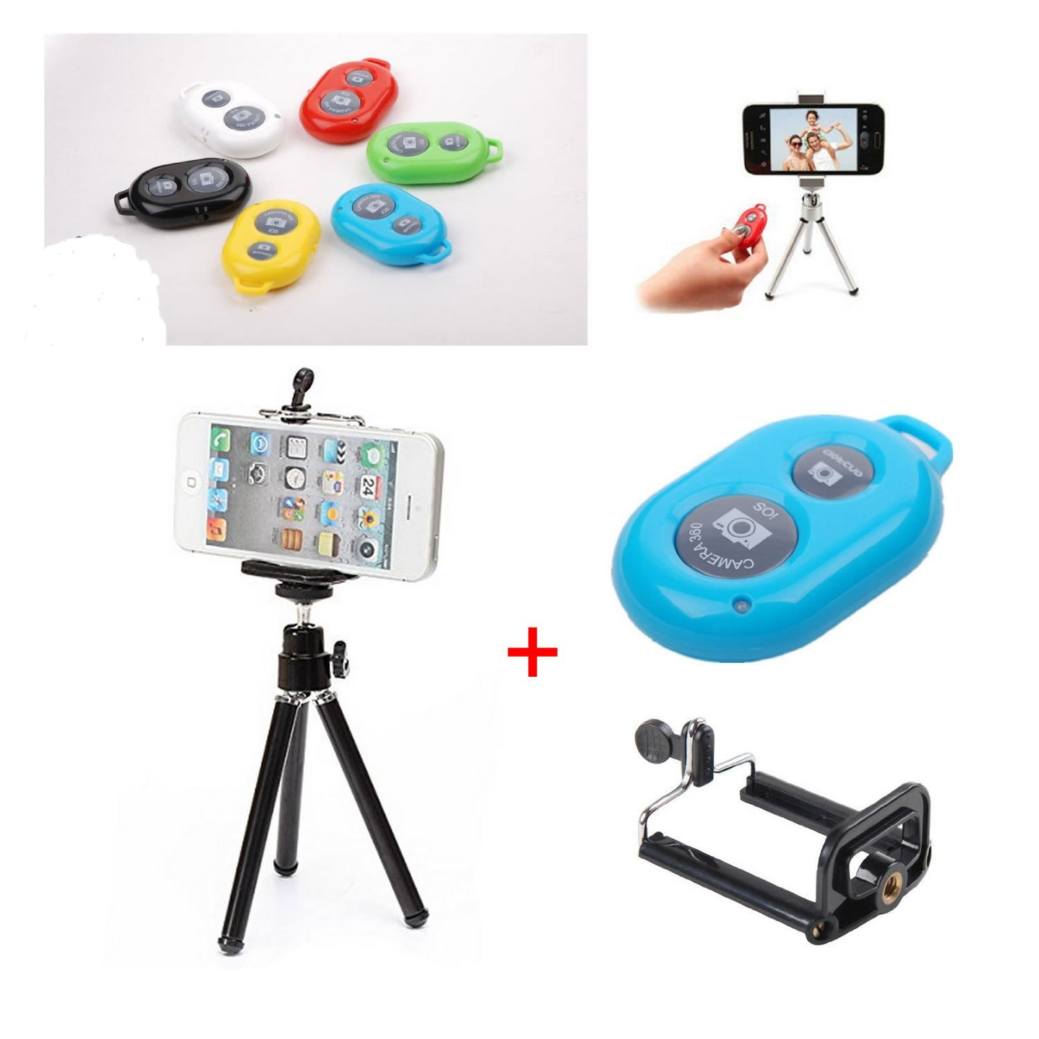 Shopping_Shop2000 Photo Shooting Kit for iPhone 5 5C 5S 4S Samsung Galaxy S5 S4 S3 Note 3 2 HTC One LG Sony Android Cell Phone, Retractable Universal Mini Tripod Stand Camera Video Holder Mount + Universal Adapter Holder for iPhone & Large Size Cell Phone