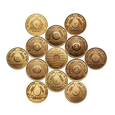 Complete Set of 12 Months - 1,2,3,4,5,6,7,8,9,10,11, and 18 Month Bronze AA Medallions Serenity Prayer Chips: Toys & Games