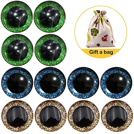 Unbekannt Plastik-Tieraugen zum Stecken + 4 Tiernasen zum Stecken Schwarz 10x11 mm Teddyaugen 4 Paar Augen 8 St/ück 25 mm Augen Puppenaugen mit Glitzer Sicherheitsaugen