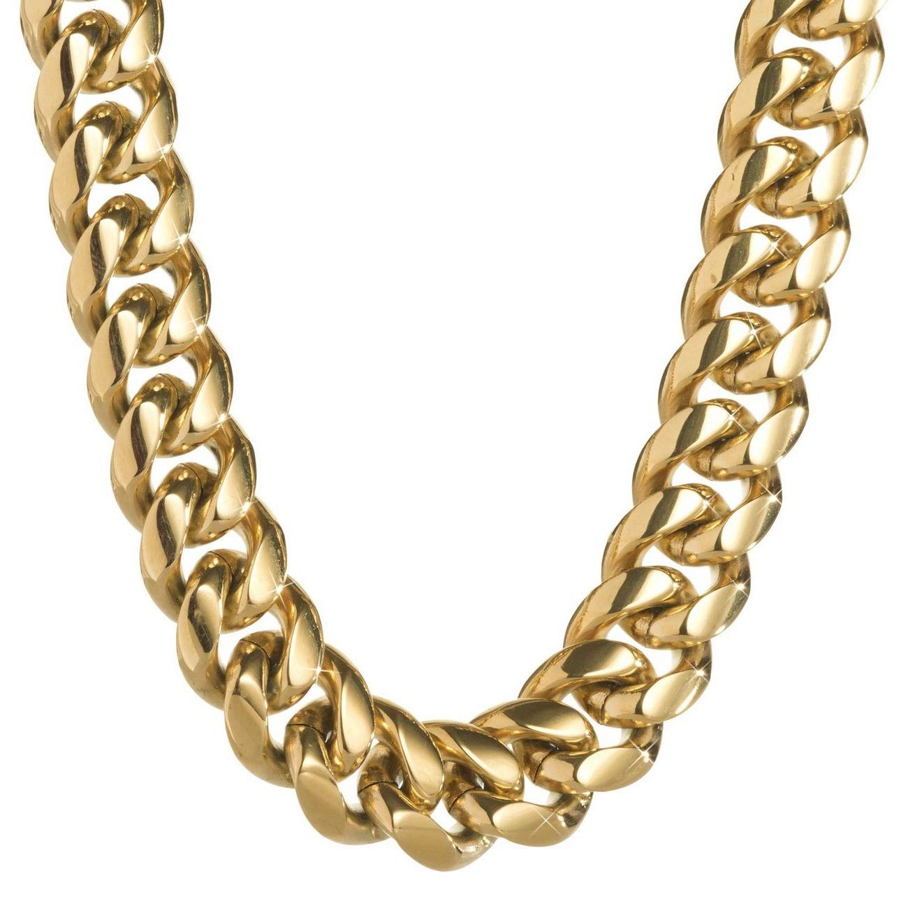 dd4c10290f702 TRIPOD JEWELRY Heavy Thick Men's Miami Cuban Link Chain Bracelet- 18K Gold  Plated Stainless Steel 10mm,12mm,14mm Cuban Link Necklace Gold Plated Cuban  ...