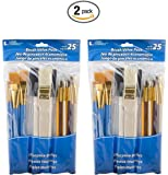 Loew-Cornell 245B Brush Set, Pack of 25, Multi Color (2 Packs)