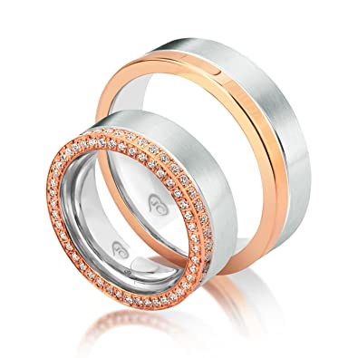 2x Doppel Vollkranz Zirkonia Eheringe 925 Silber Verlobungsringe