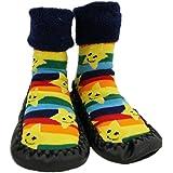 Baby Rainbow Stars Thick Winter Anti-Slip Shoes Socks Moccasins Age 1 2 3