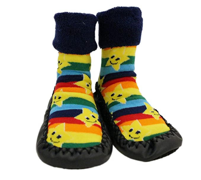 Baby Rainbow Stars Thick Winter Anti-slip Shoes Socks Moccasins Age 1 2 3 …