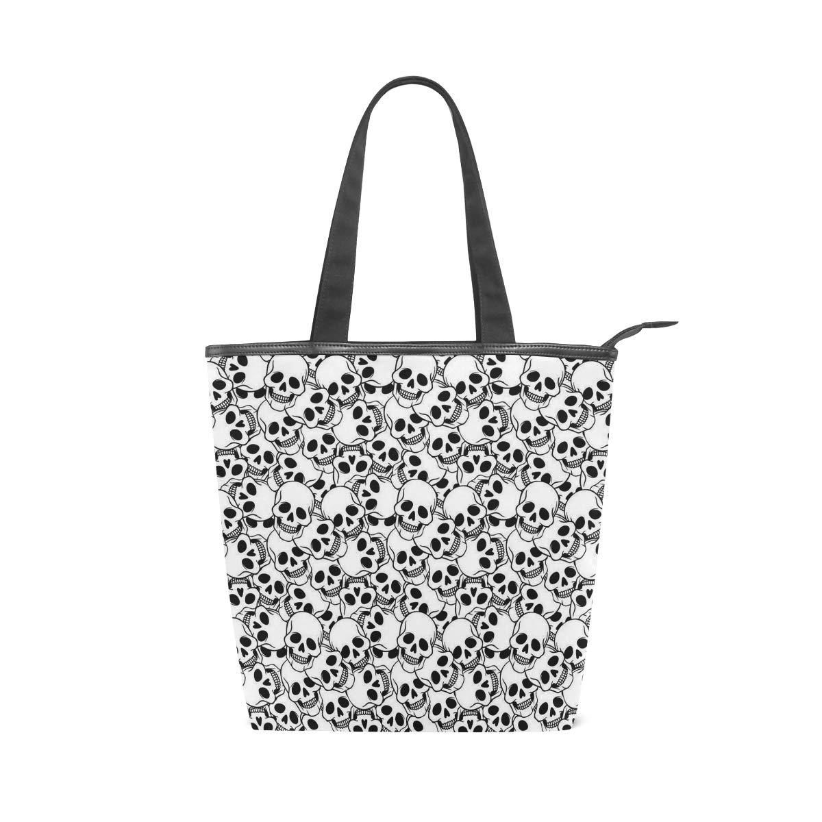 Women Large Tote Top Handle Shoulder Bags Skull Satchel Handbag