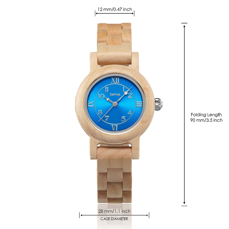 Reloj de Madera ZEITHOLZ - Schönheide - 100% de Madera de Arce- Producto Natural - Hipoalergénico - Sostenible - Esfera Azul - Reloj de Pulsera en Madera ...