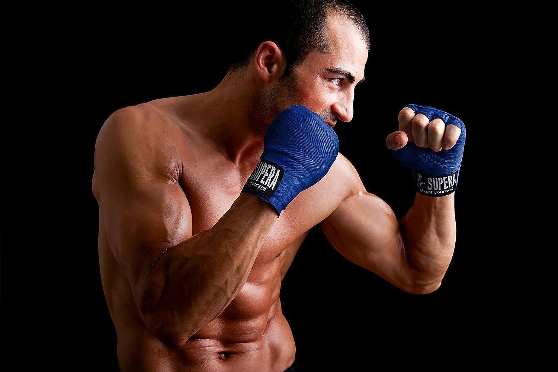 Set avec bandage dentrainement avec fermeture Velcro pour le poignet Diff/érents coloris Muay Thai /& MMA Bo/îte pour kickboxing Supera Bandages de boxe /élastique 4,5 m avec dragonne pour le pouce