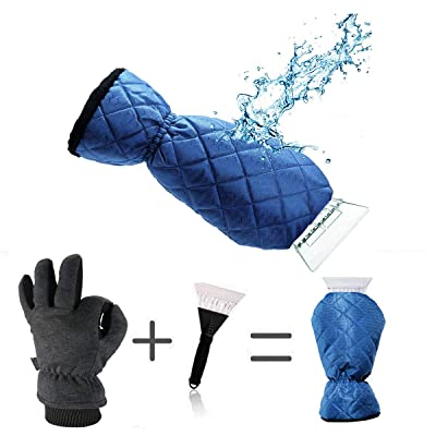 LLOP Ice Scraper Mitt for Car Windshield Snow Scrapers with Waterproof Glove Lined of Thick Fleece (Blue): Automotive