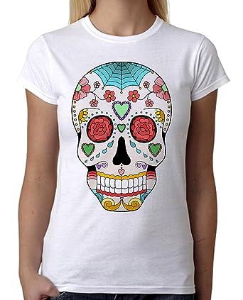 b10e46841e Amazon.com: Day of the Dead Sugar Skull Tee B622 Junior's PLY White ...