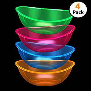 Set of 4 - Oval Plastic Contoured Serving Neon Bowls, Party Snack or Salad Bowl, 80-Ounce, Assorted Colors,