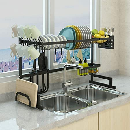 Xue-shelf 65 Dish Drainer Holder Black Stainless Steel Kitchen Rack