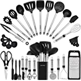Kitchen Utensil Set-Silicone Cooking Utensils-33 Kitchen Gadgets & Spoons for Nonstick Cookware-Silicone and Stainless Steel