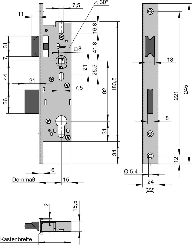 Riegel Rohrrahmenschloss U-Stulp m Falle u PZW DM 34 Edelstahl