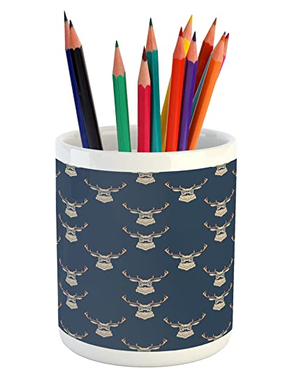 Charmant Ambesonne Deer Pencil Pen Holder, Hipster Inspired Deer With Antlers  Glasses Mustaches Funny Animal Pattern