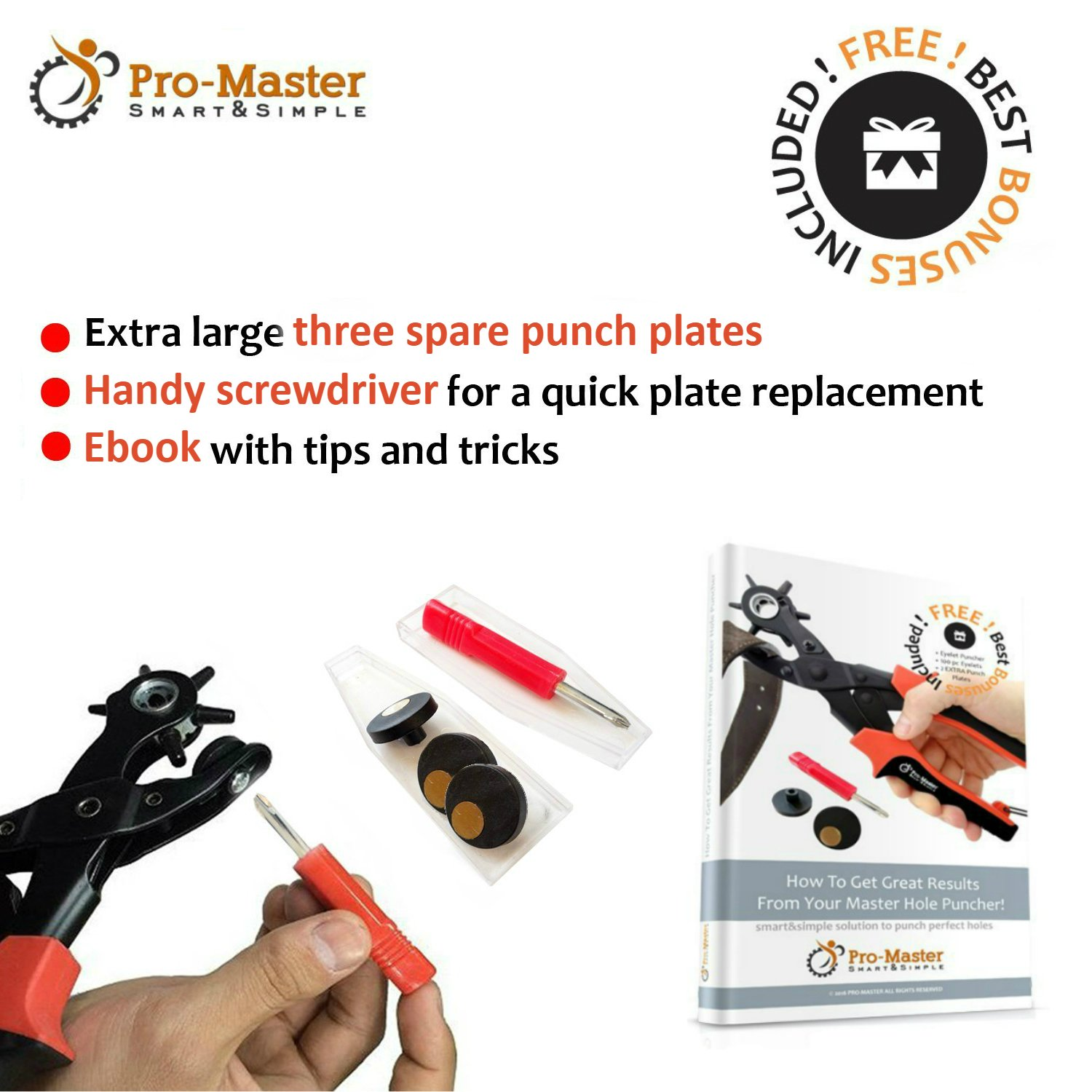 Best Leather Hole Punch Set for Belts, Watch Bands, Straps, Dog Collars, Saddles, Shoes, Fabric, DIY Home or Craft Projects. Super Heavy Duty Rotary Puncher, Multi Hole Sizes Maker Tool, 3 Yr Warranty by ProMaster (Image #6)
