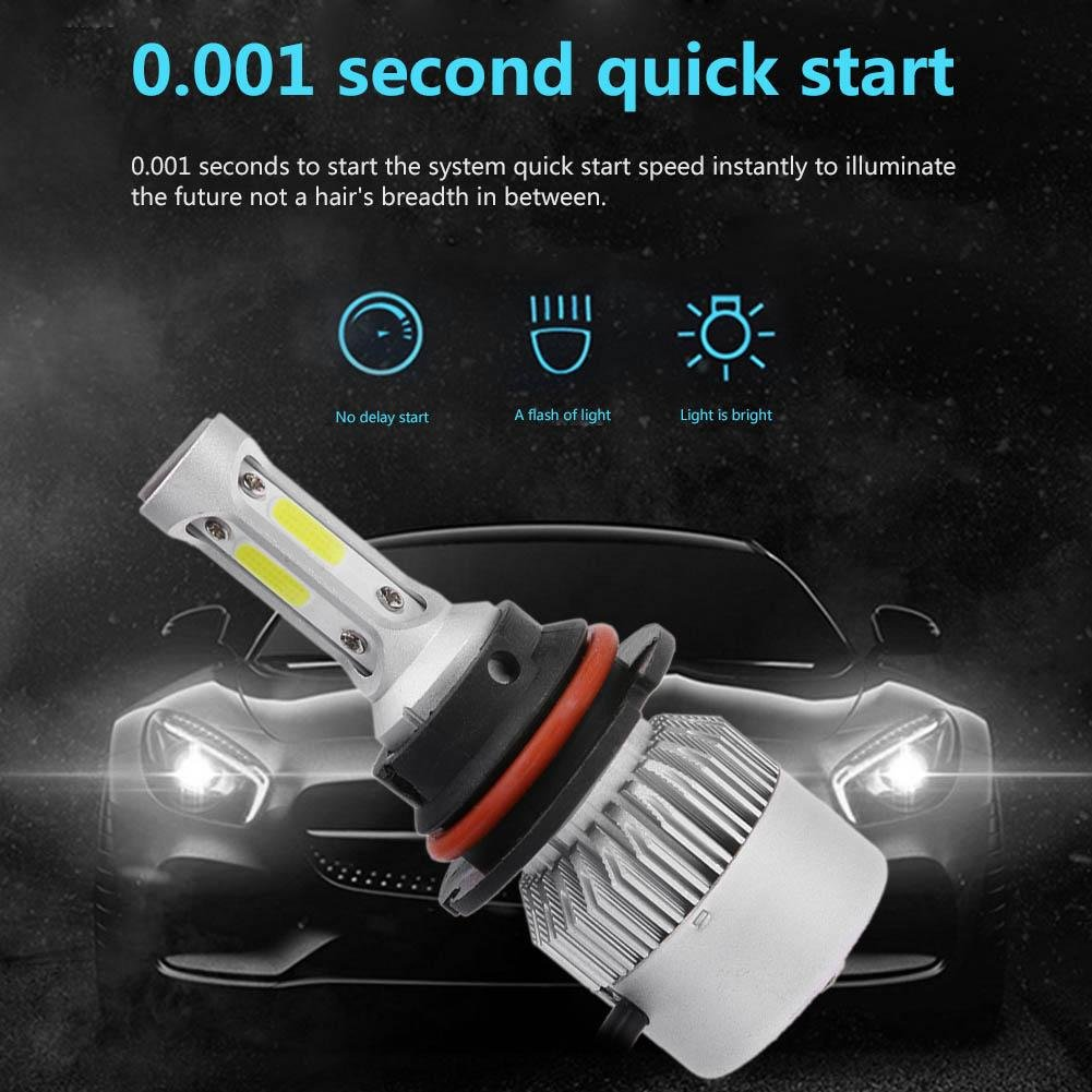 Car Headlight Bulbs(led) 1 Pair Universal 9004 Led Cob Car Headlight Auto 6500k 5000lm White Light-emitting Diode Headlamp Head Lamp Bulb Built-in Fan Car Lights