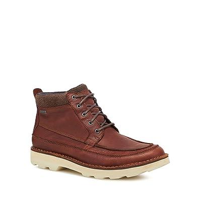 dcf48917f70 Clarks Men Dark Tan Leather 'Korik Rise' Lace up Boots 11: Amazon.co ...