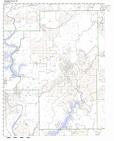 Cherokee County Zip Code Map.Amazon Com Cherokee County Oklahoma Ok Zip Code Map Not Laminated