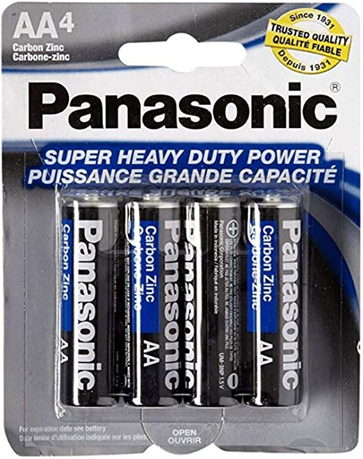 Amazon Com Panasonic 5741 8pc Aa Batteries Super Heavy Duty Power Carbon Zinc Double A Battery 1 5v Black Pack Of 8 Electronics