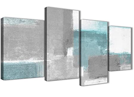 Wallfillers Large Teal Gray Painting Abstract Bedroom Canvas Wall Art Decor – 4377-51in Set of Prints