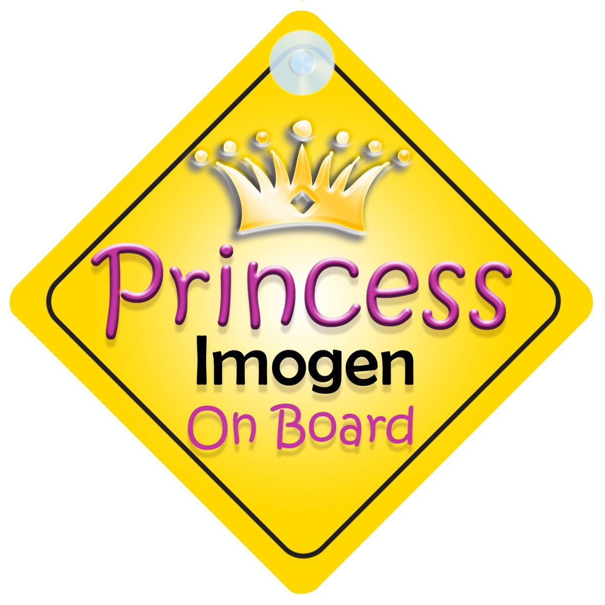 Crown Princess Imogen On Board Personalised Baby Girl Car Sign
