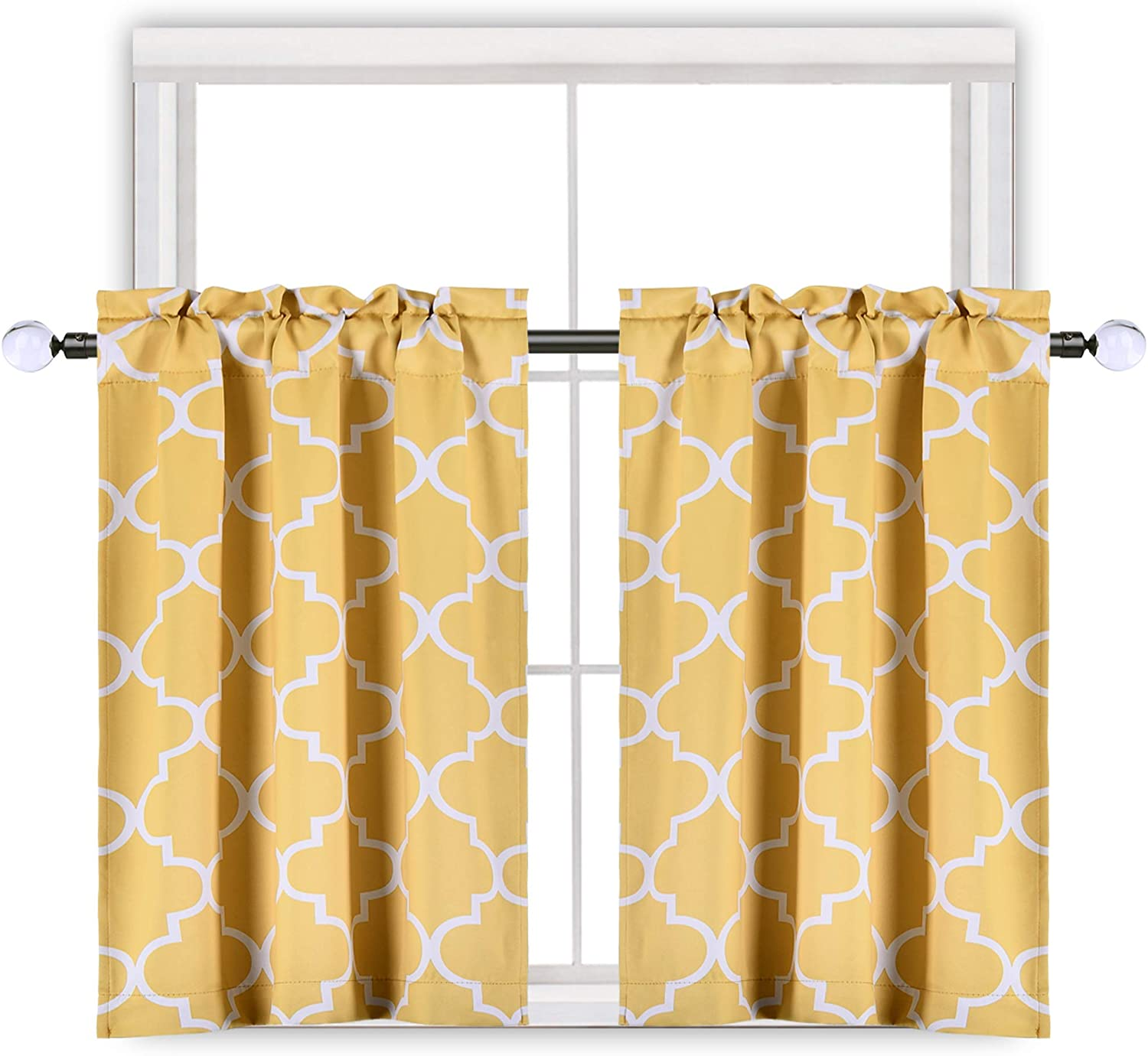 Moroccan Tile Print Blackout Curtain Tiers For Kitchen Window Quatrefoil Cafe Curtains 36 Inches Short Curtain For Bathroom With Rod Pocket 25 W X 36 L Inch 2 Panels Yellow Kitchen Dining