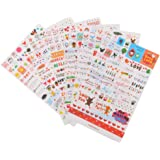6 Feuilles Autocollant Sticker Adhésif Cartoon Décoration de Calendrier Album Scrapbooking