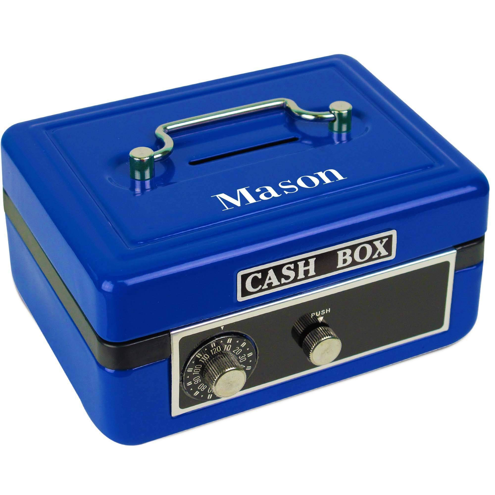 Personalized Boys with Name only Childrens Blue Cash Box by MyBambino