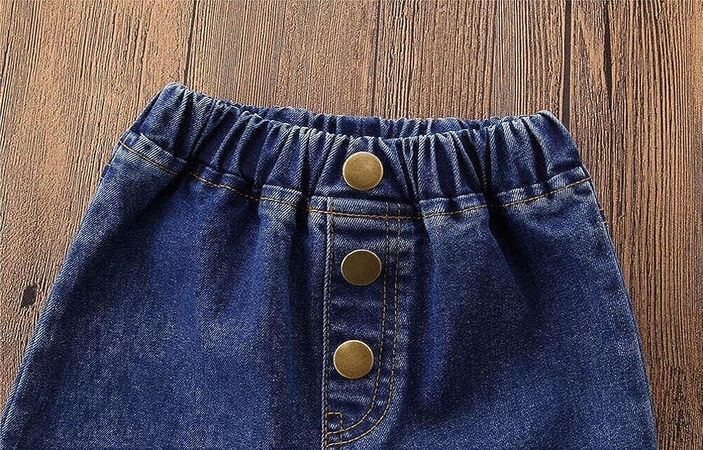SHOBDW Girls Trousers 2018 Infant Kids Baby Fashion Vintage Jeans Splice Bell-Bottoms Denim Children Pants Gifts
