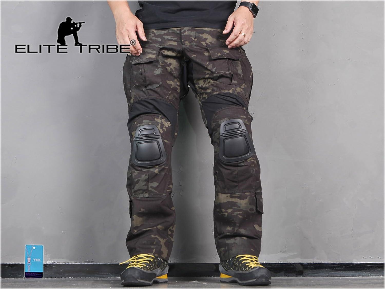 Pantalones de los hombres de paintball airsoft militar combate pantalones Gen3 tácticas con rodillera Multicam Negro Military Outdoor