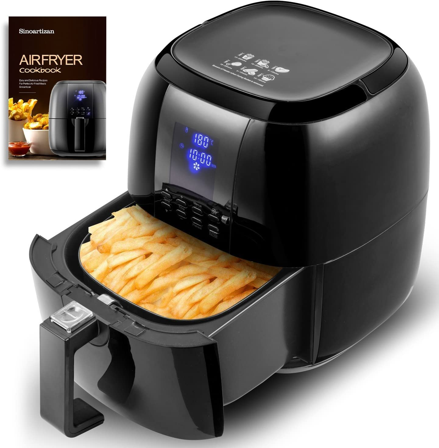 Digital Multi-function Air Fryer with LED Display, Healthy Oil-free Cooking with 8 Pre-set Cooking Programs (Black)